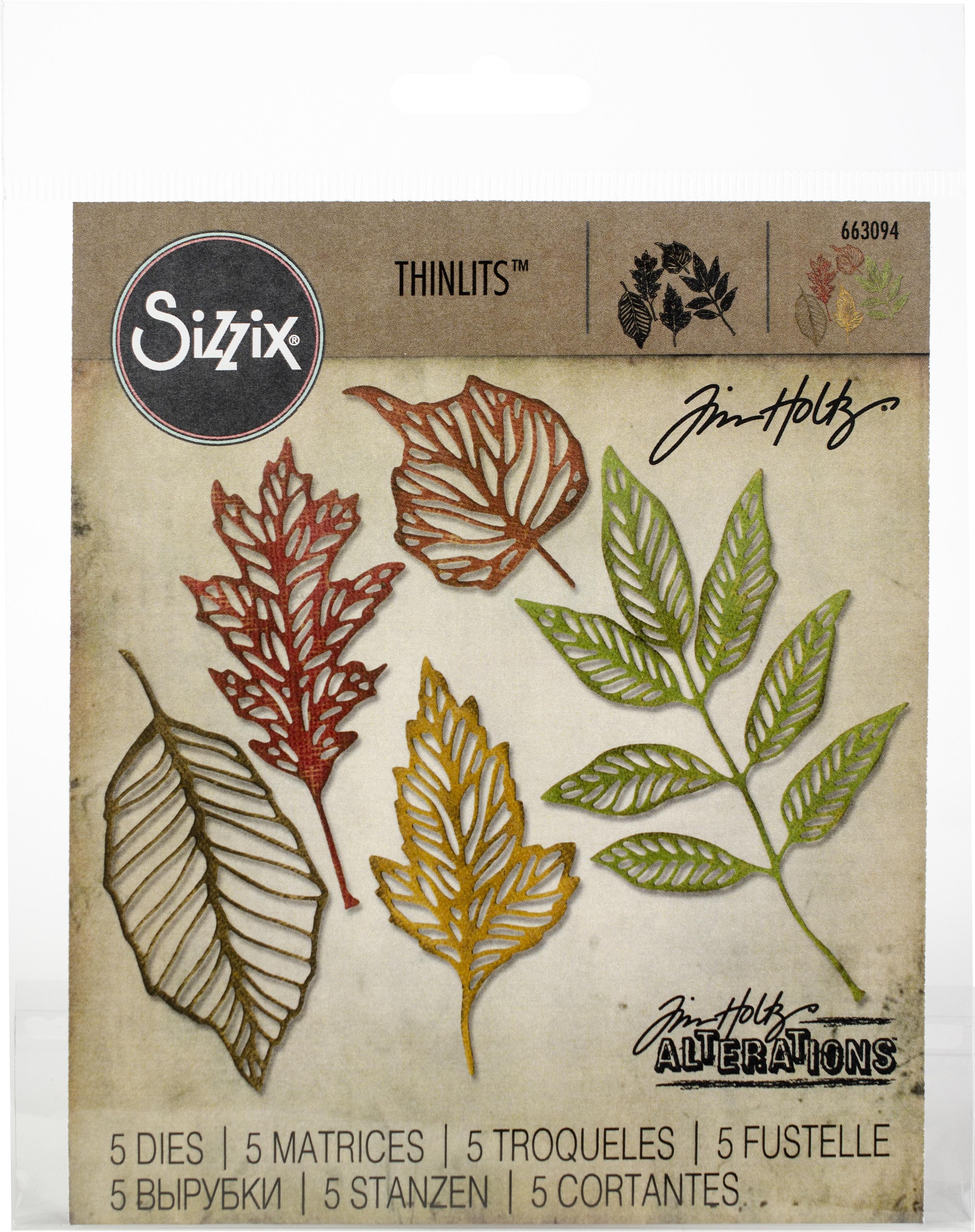 Sizzix Thinlits Dies By Tim Holtz 5/Pkg-Skeleton Leaves