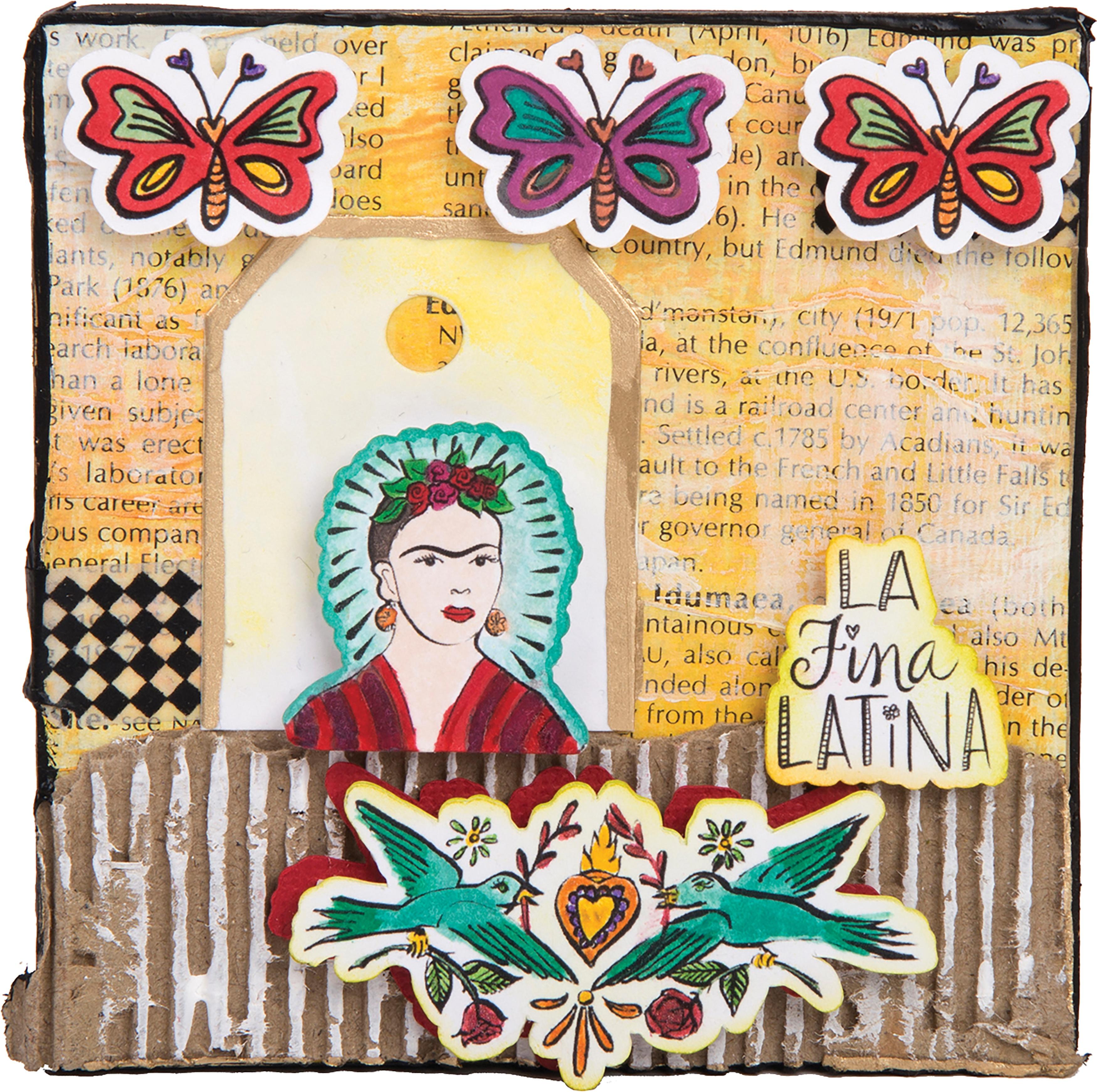 Sizzix Framelits Die & Stamp Set By Crafty Chica 4/Pkg-La Fina Latina
