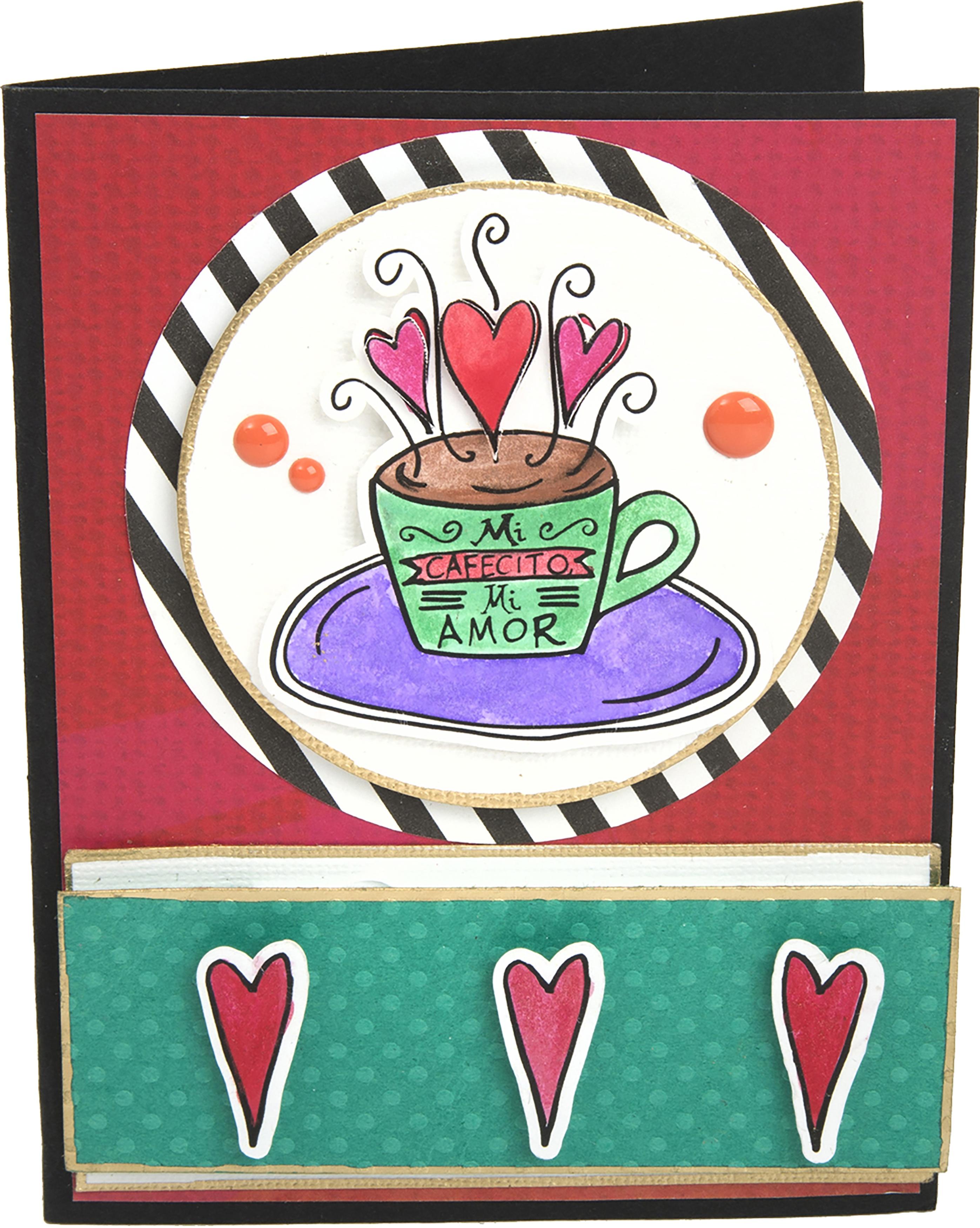 Sizzix Framelits Die & Stamp Set By Crafty Chica 3/Pkg-Mi Cafecito Mi Amor