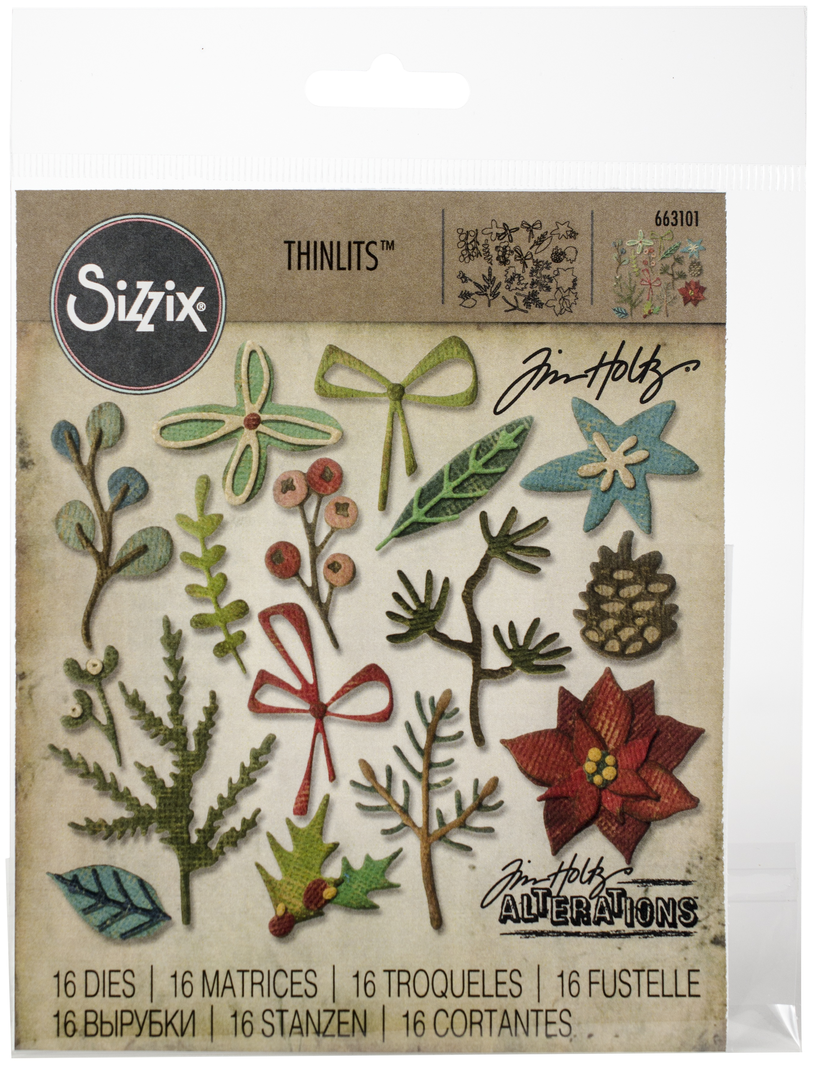 Sizzix Thinlits Dies By Tim Holtz 18/Pkg-Funky Festive