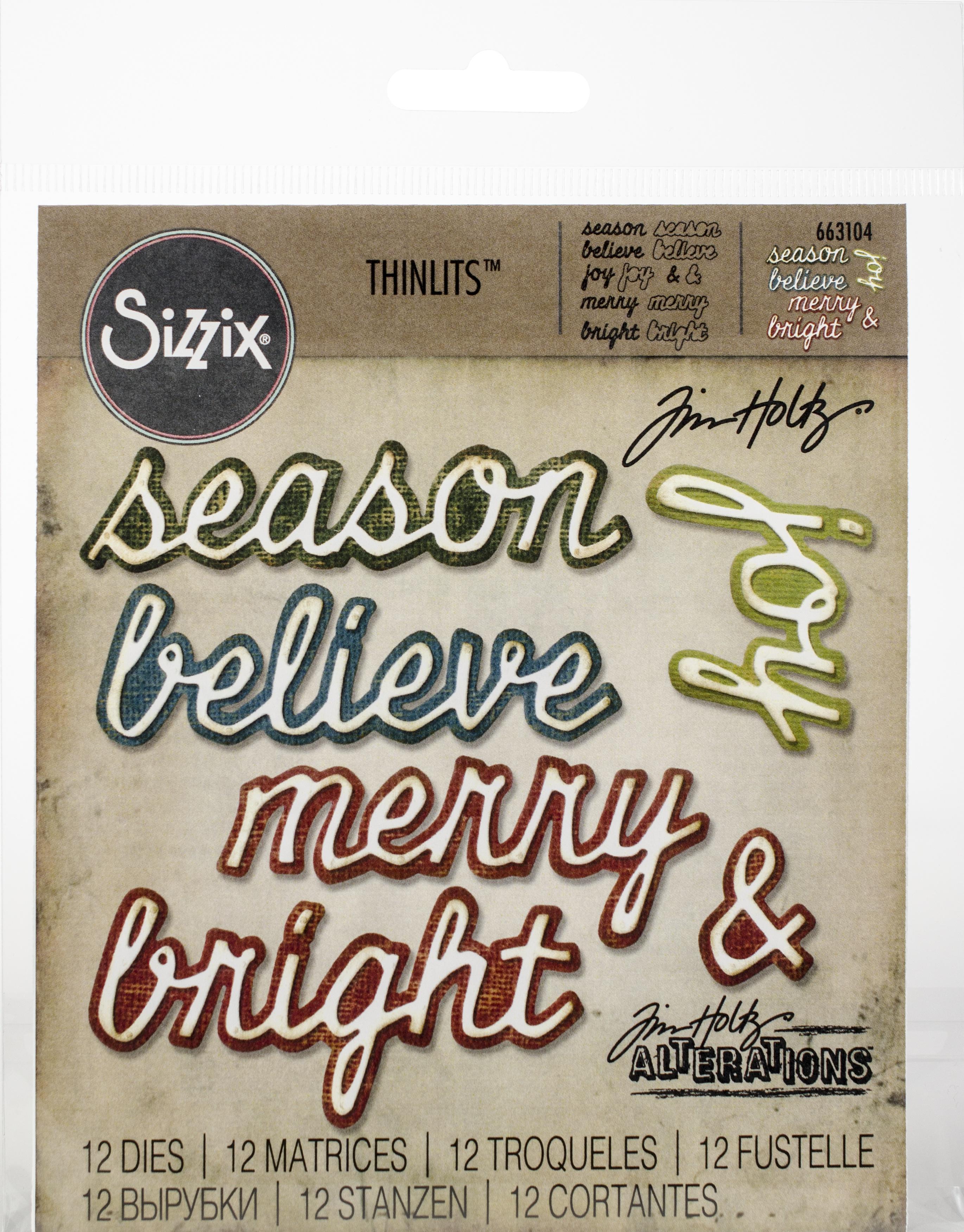 Sizzix Thinlits Dies By Tim Holtz 12/Pkg-Shadow Script Christmas