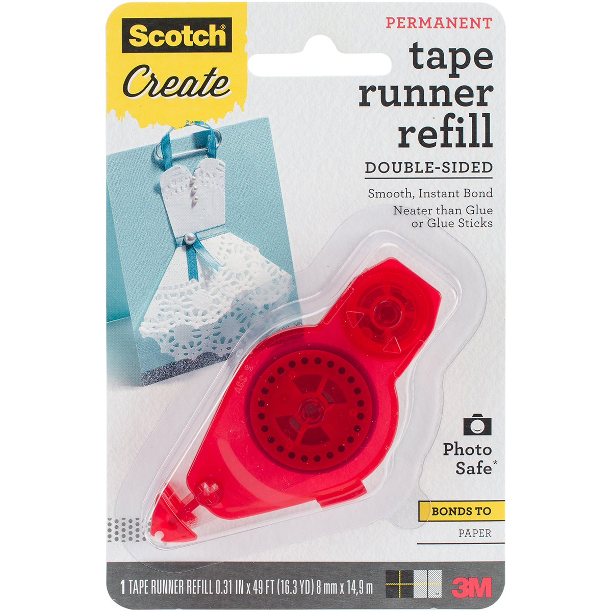 Scotch Adhesive Dot Roller Refill-.31X49', For Use In 55