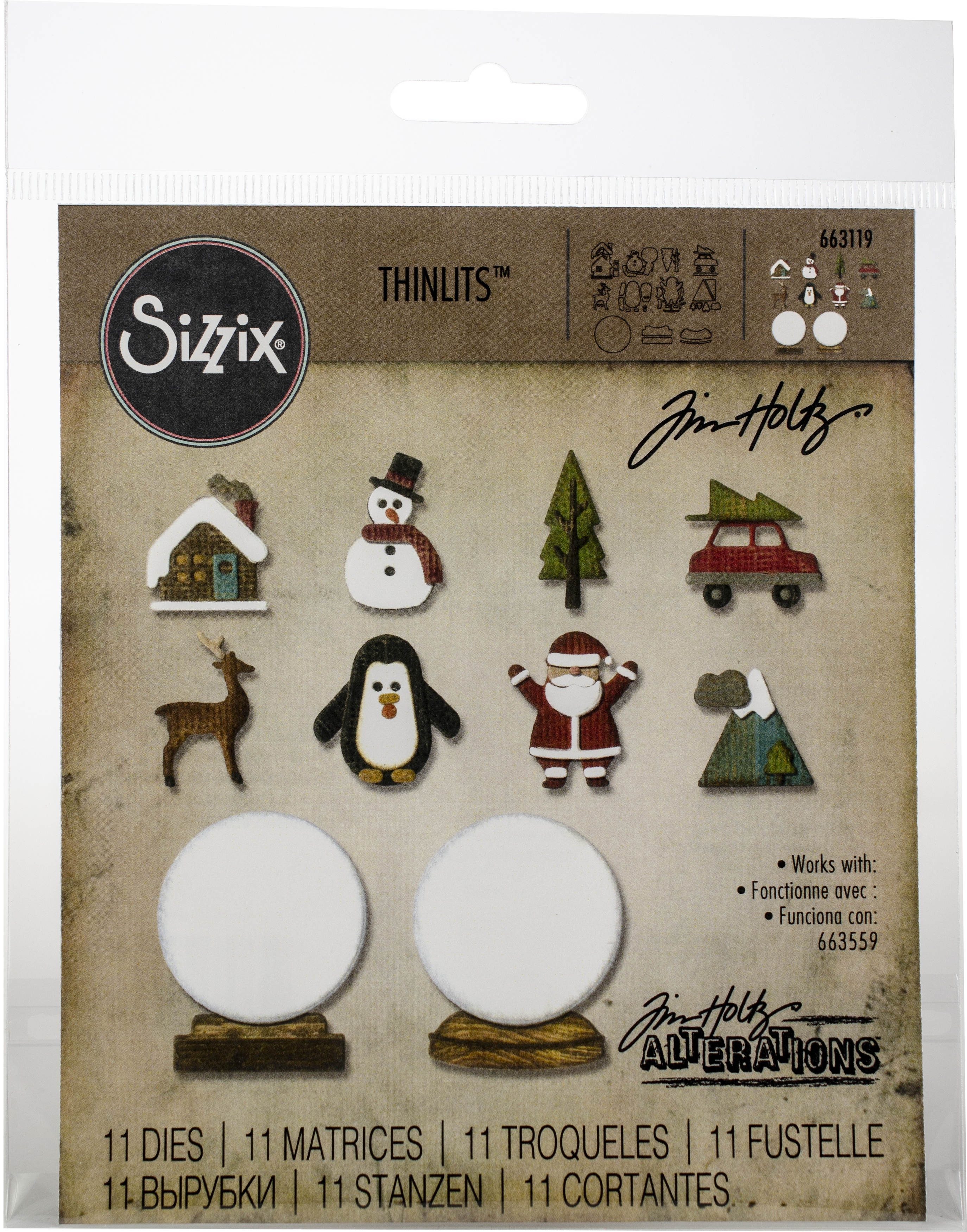 Sizzix Thinlits Dies By Tim Holtz 11/Pkg-Tiny Snowglobes