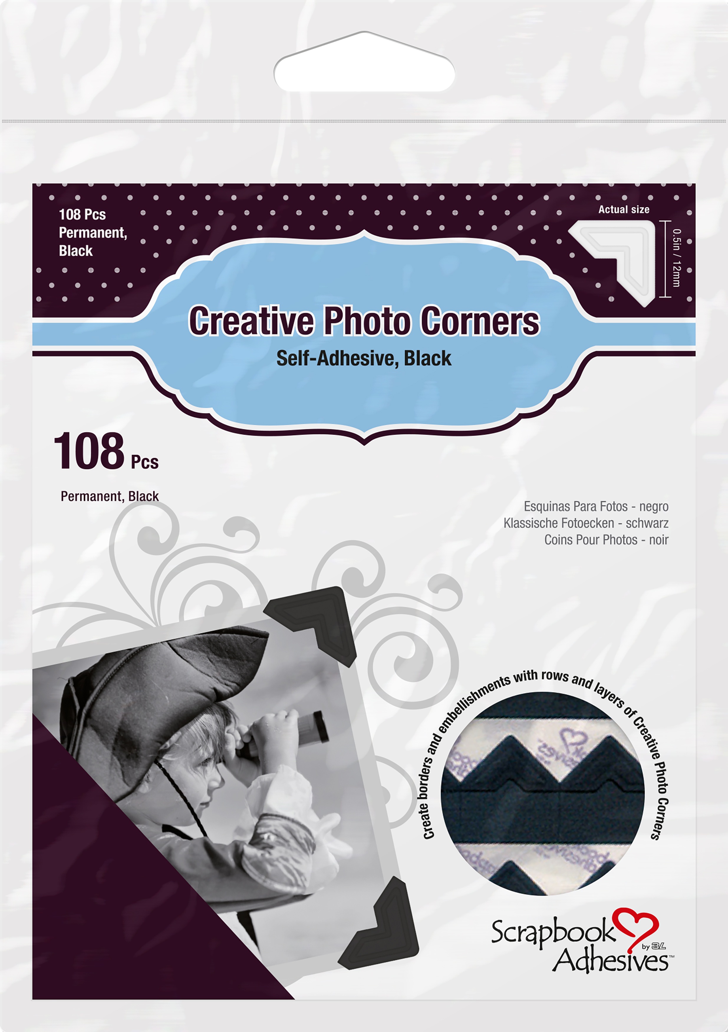Scrapbook Adhesives Paper Photo Corners Self-Adhesive 108/Pk-Black
