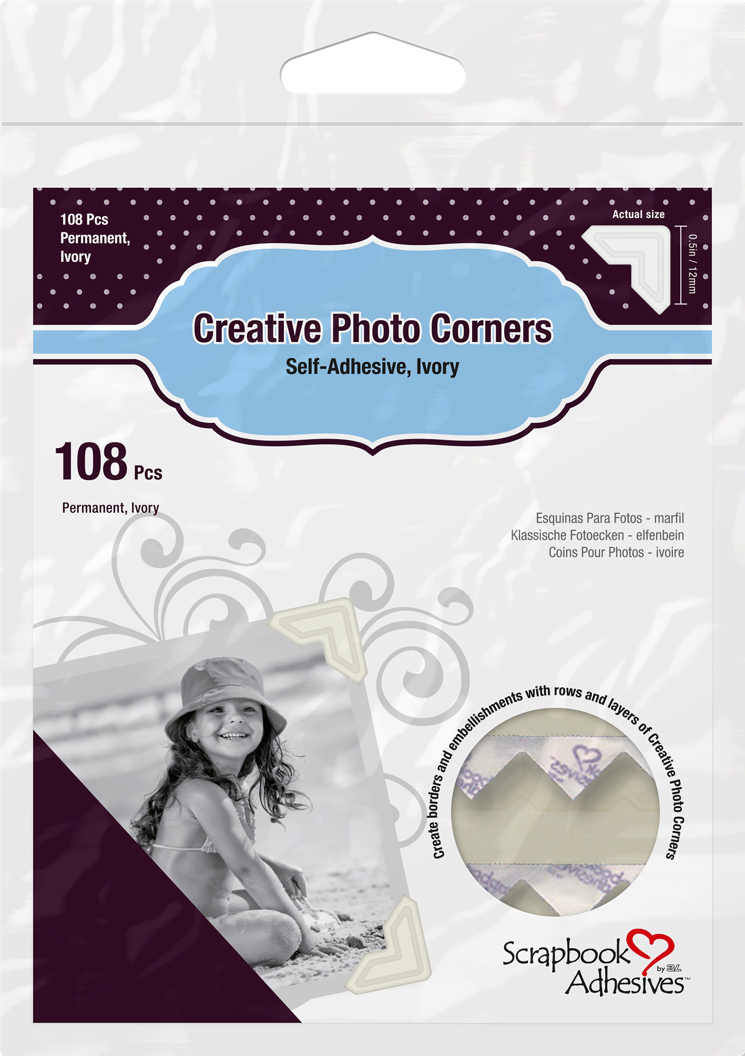 Scrapbook Adhesives Paper Photo Corners Self-Adhesive 108/Pk-Ivory
