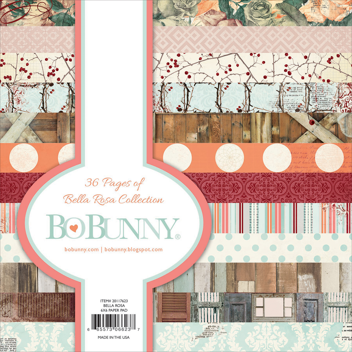 BoBunny Single-Sided Paper Pad 6X6 36/Pkg-Bella Rosa 12 Designs/3 Each