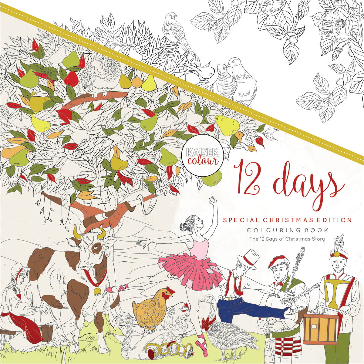 KaiserColour Perfect Bound Coloring Book 9.75X9.75-12 Days Of Christmas
