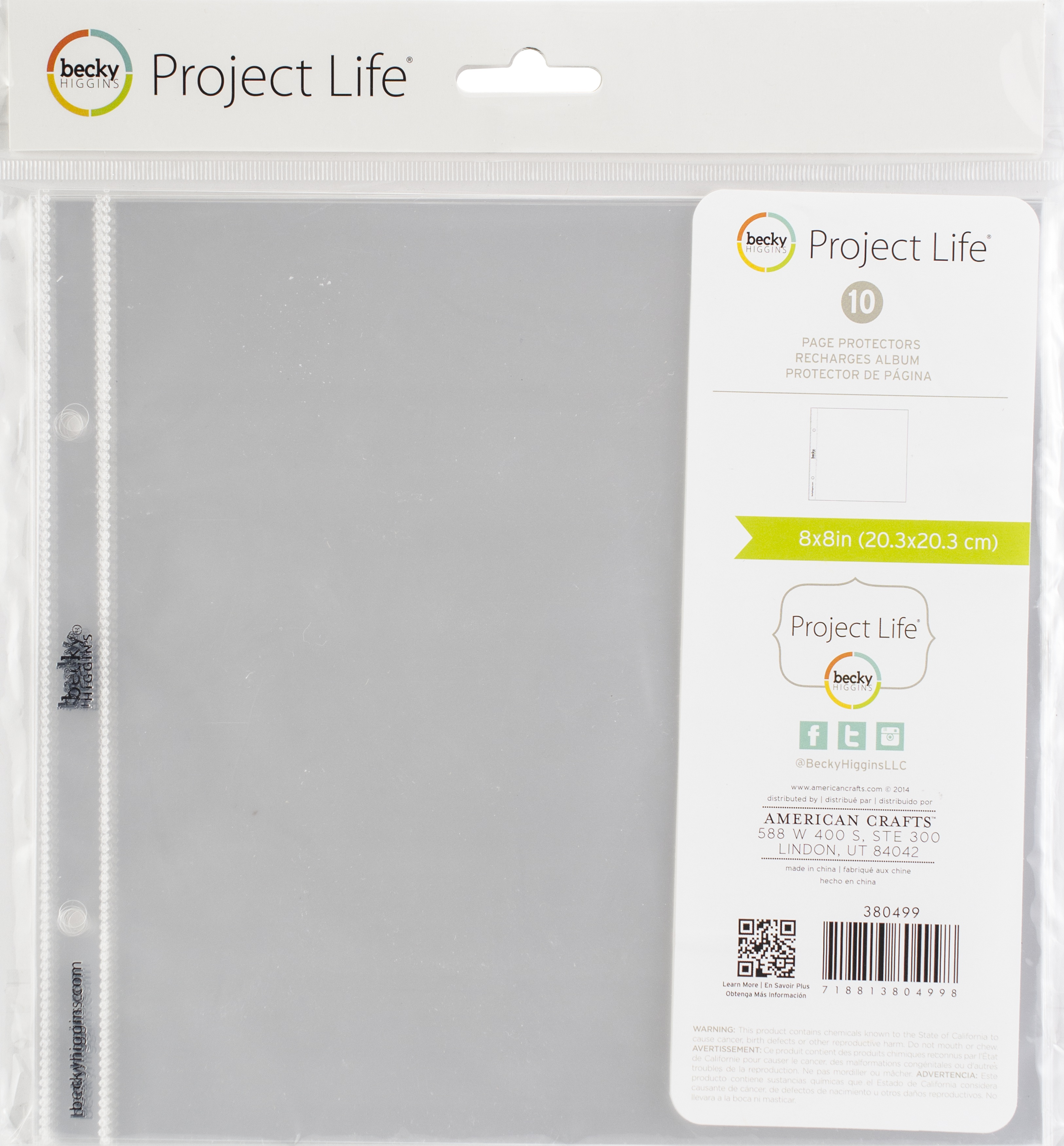 Project Life Page Protectors 8X8 10/Pkg-