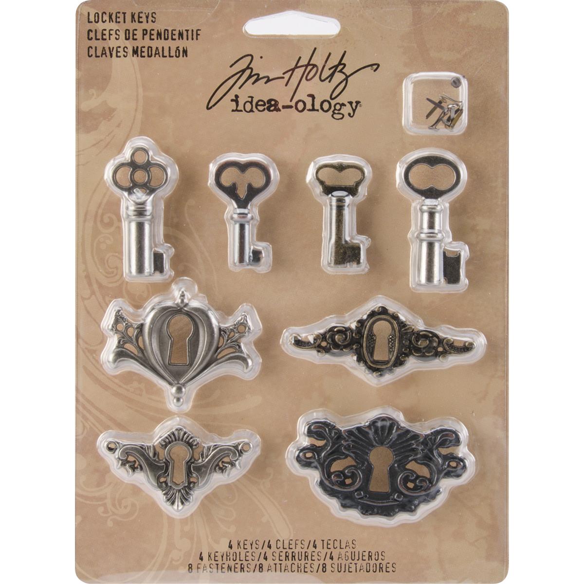 Idea-Ology Metal Locket Keys & Keyholes 8/Pkg-Antique Nickel, Brass & Copper
