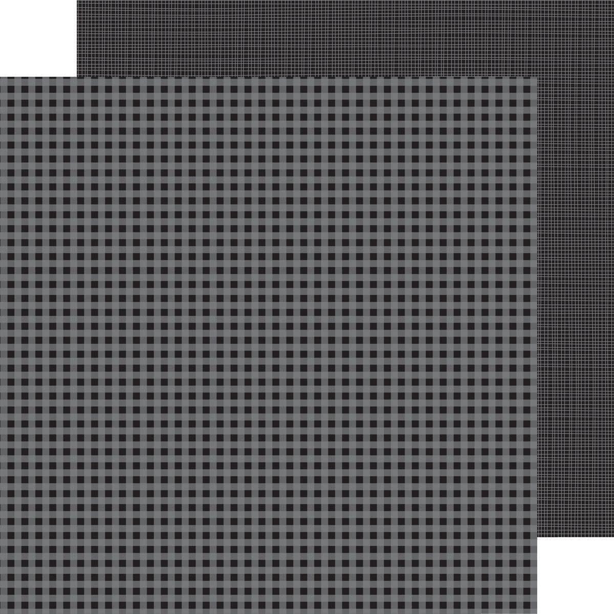 Doodlebug Petite Prints Gingham/Linen Cardstock 12X12-Beetle Black