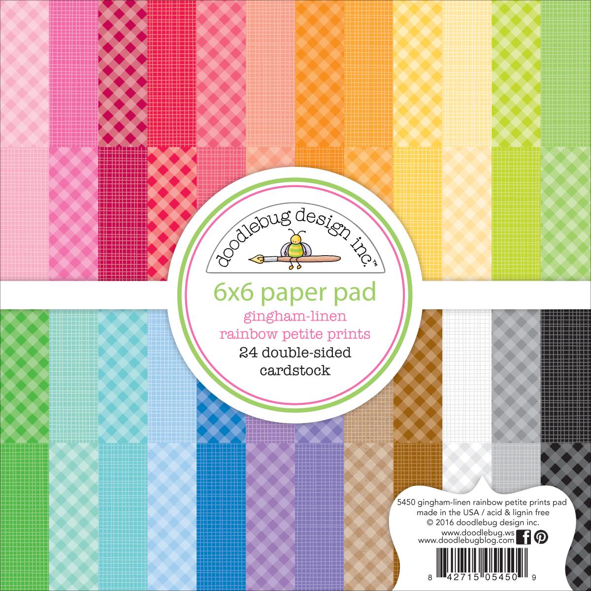 Doodlebug Petite Prints Gingham/Linen Pad 6X6 24/Pkg