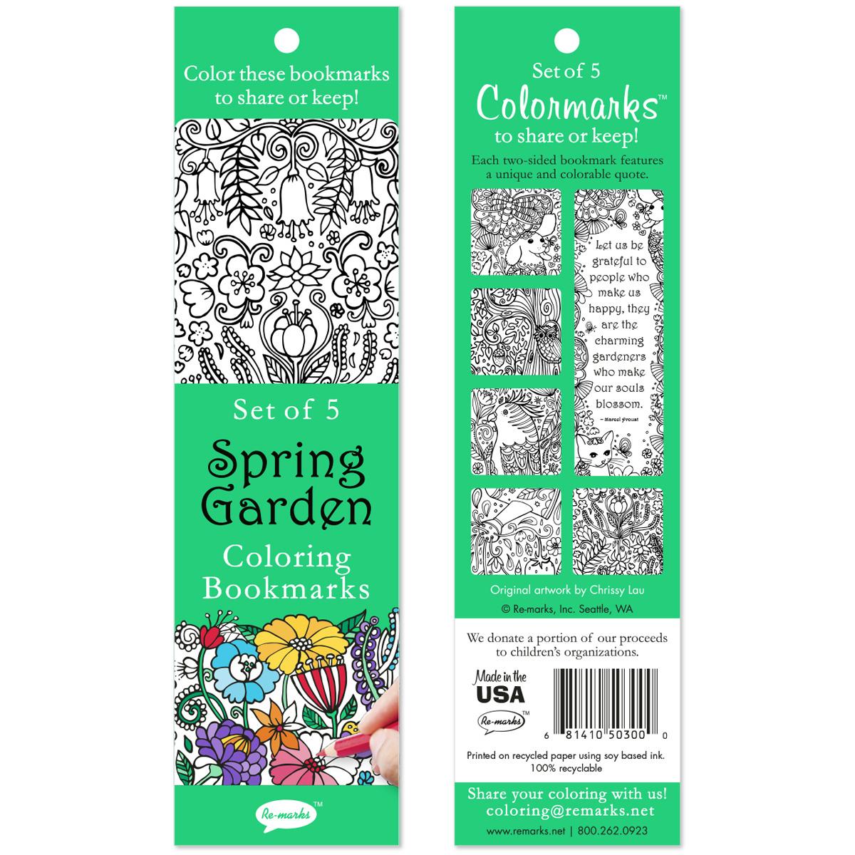 Coloring Bookmarks 5/Pkg-Spring Garden