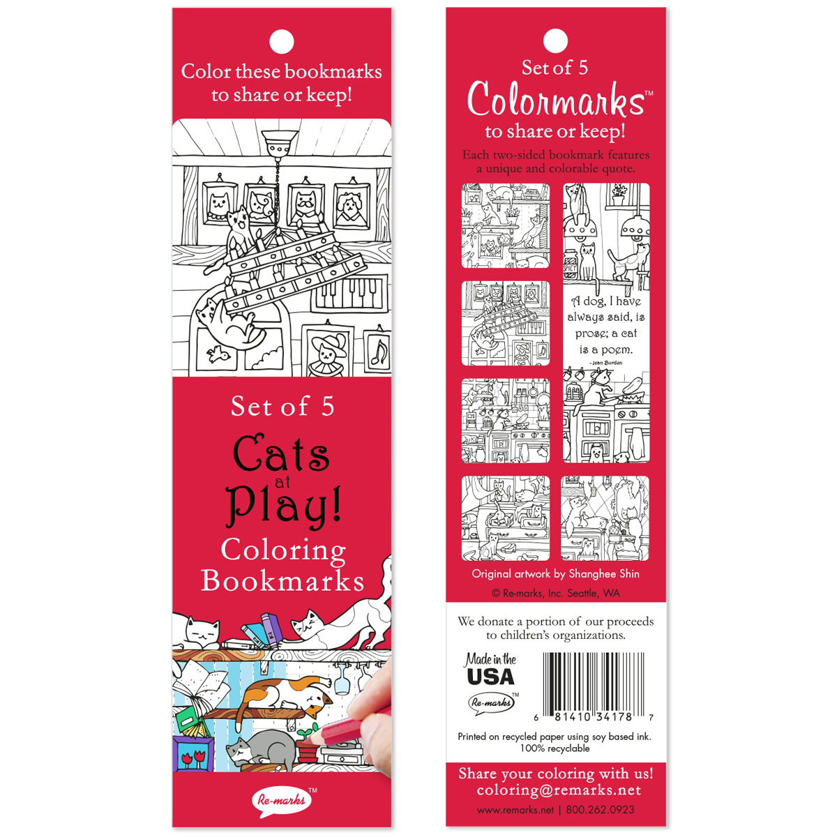 Coloring Bookmarks 5/Pkg-Cats At Play