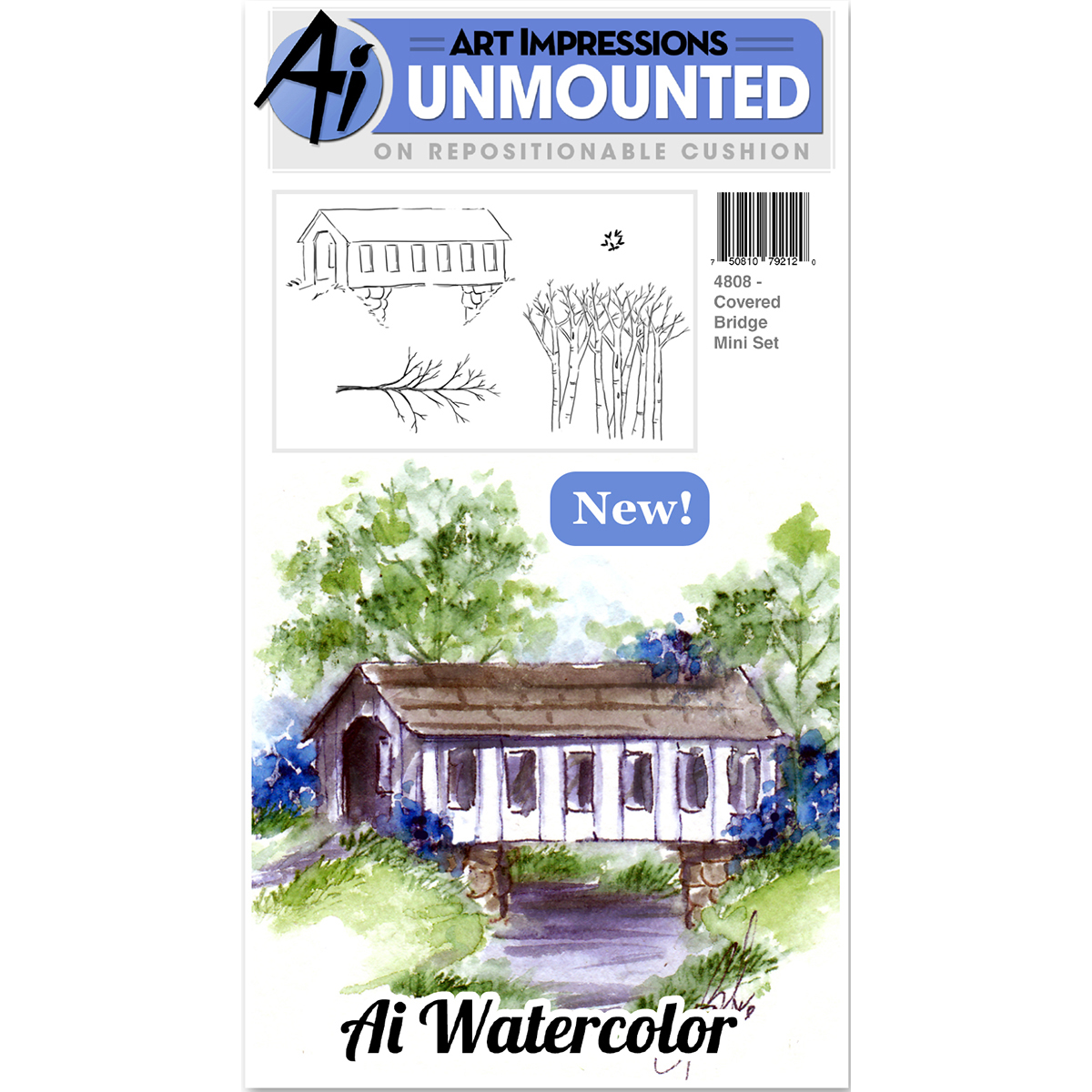 Art Impressions Watercolor Cling Rubber Stamps-Covered Bridge