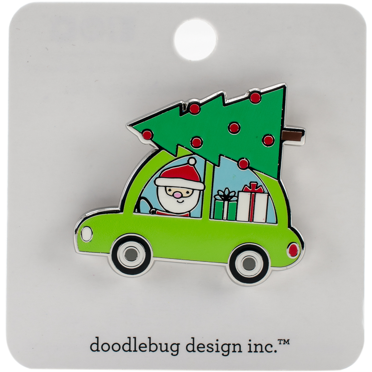 Doodlebug Collectible Enamel Pin-Here Comes Santa, Christmas Magic