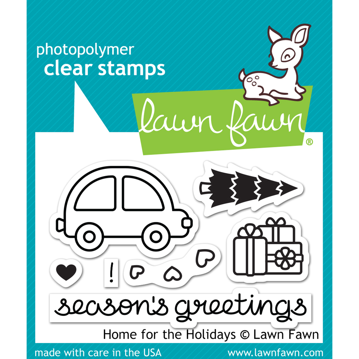 Lawn Fawn Clear Stamps and die 3X2-Home For The Holidays