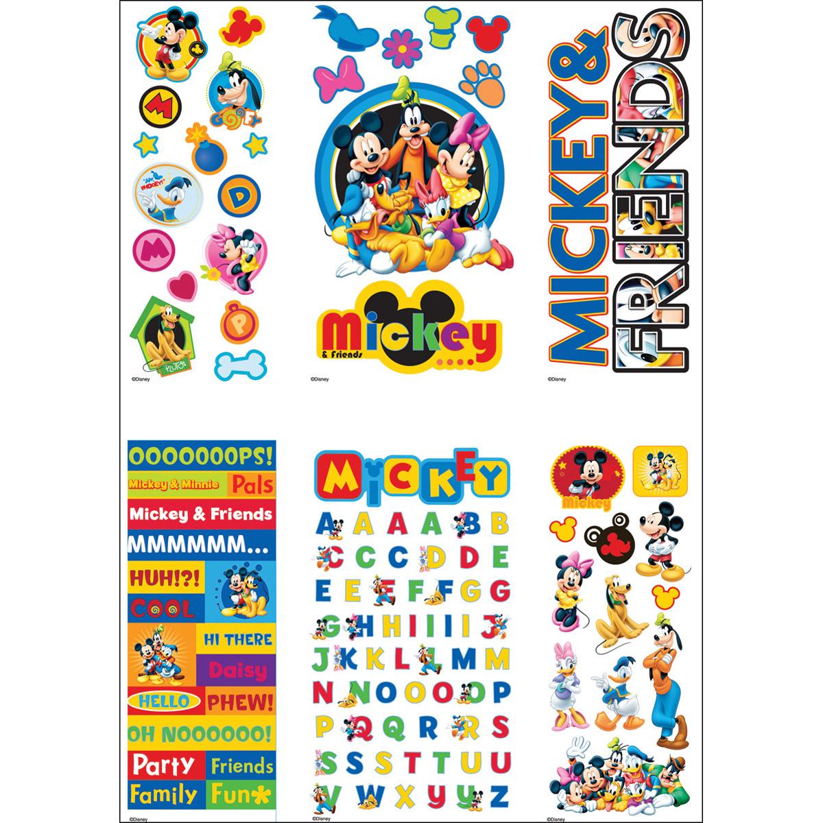 Disney Value Sticker Set W/6 Sheets-Mickey & Friends; (4) 3D & (2) Flat