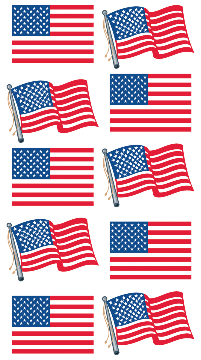 Sticko Stickers-Metallic Waving Flags