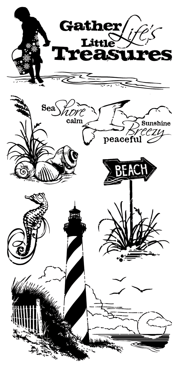Inkadinkado Clear Stamps 4X8-Down By The Seaside