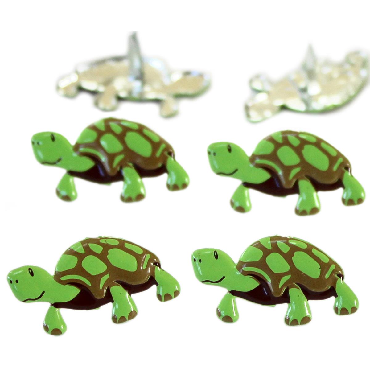 Eyelet Outlet Shape Brads 12/Pkg-Turtle