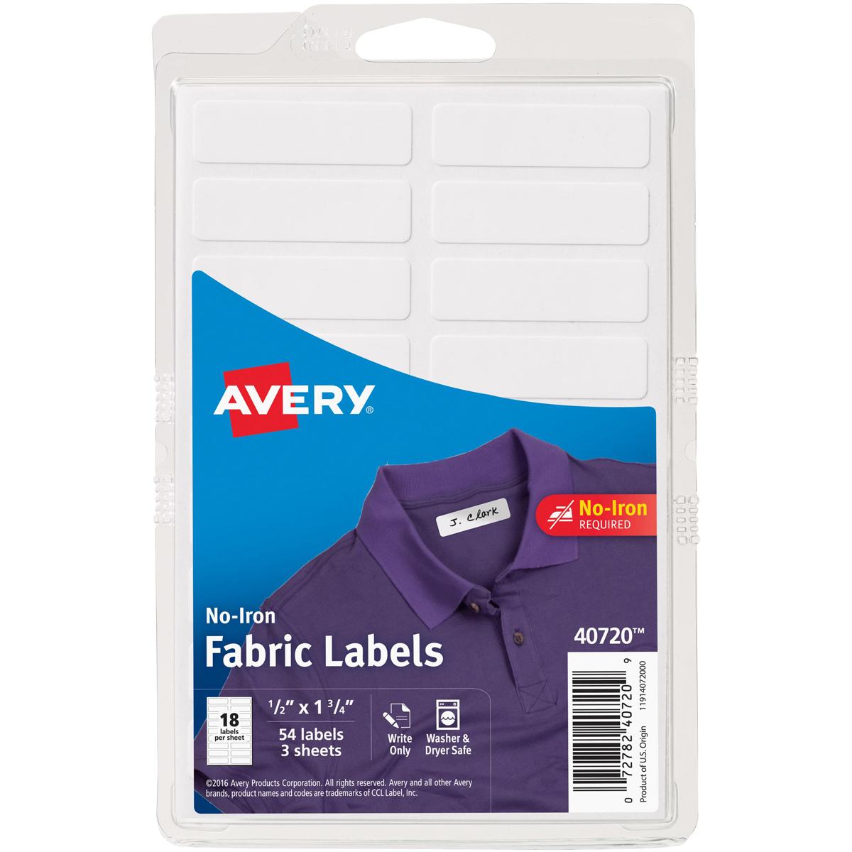 No-Iron Handwrite Fabric Labels 3 Sheets-White