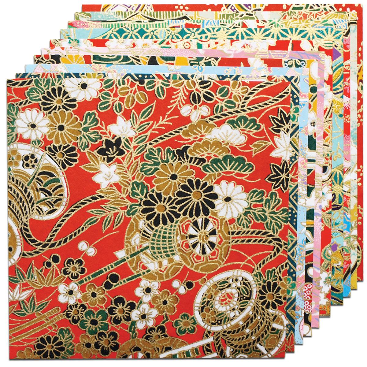 Fold 'Ems Origami Paper 5.875 10/Pkg-Yuzen Red