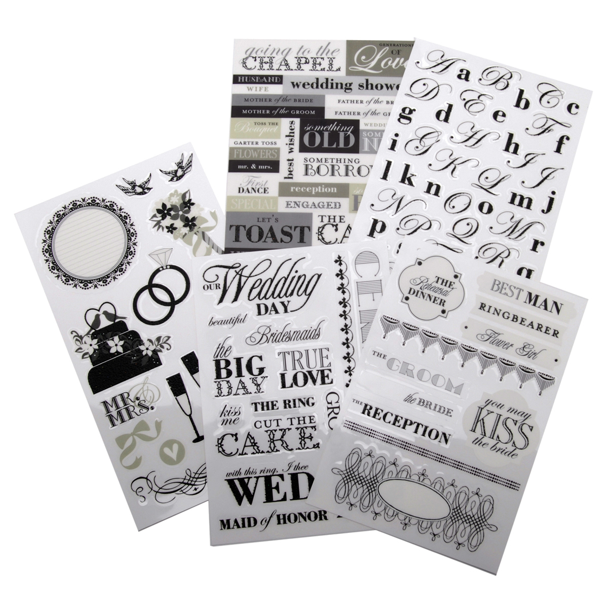 Me & My Big Ideas Glitter Stickers Value Pack-Black & White Wedding, 123/Pkg