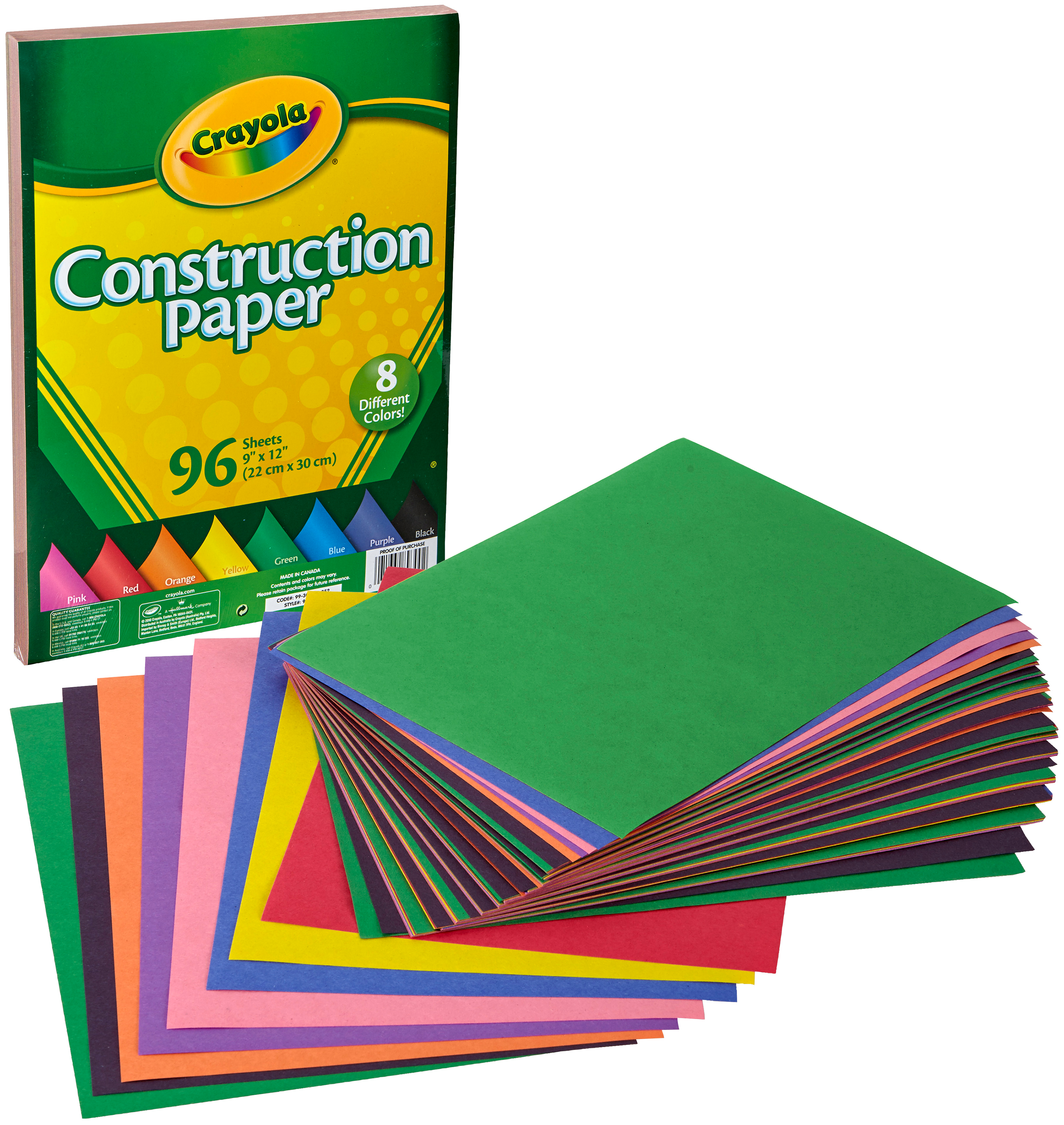 Art Street Construction Paper Assorted Colors Pack of 96 Sheets 9 x 12