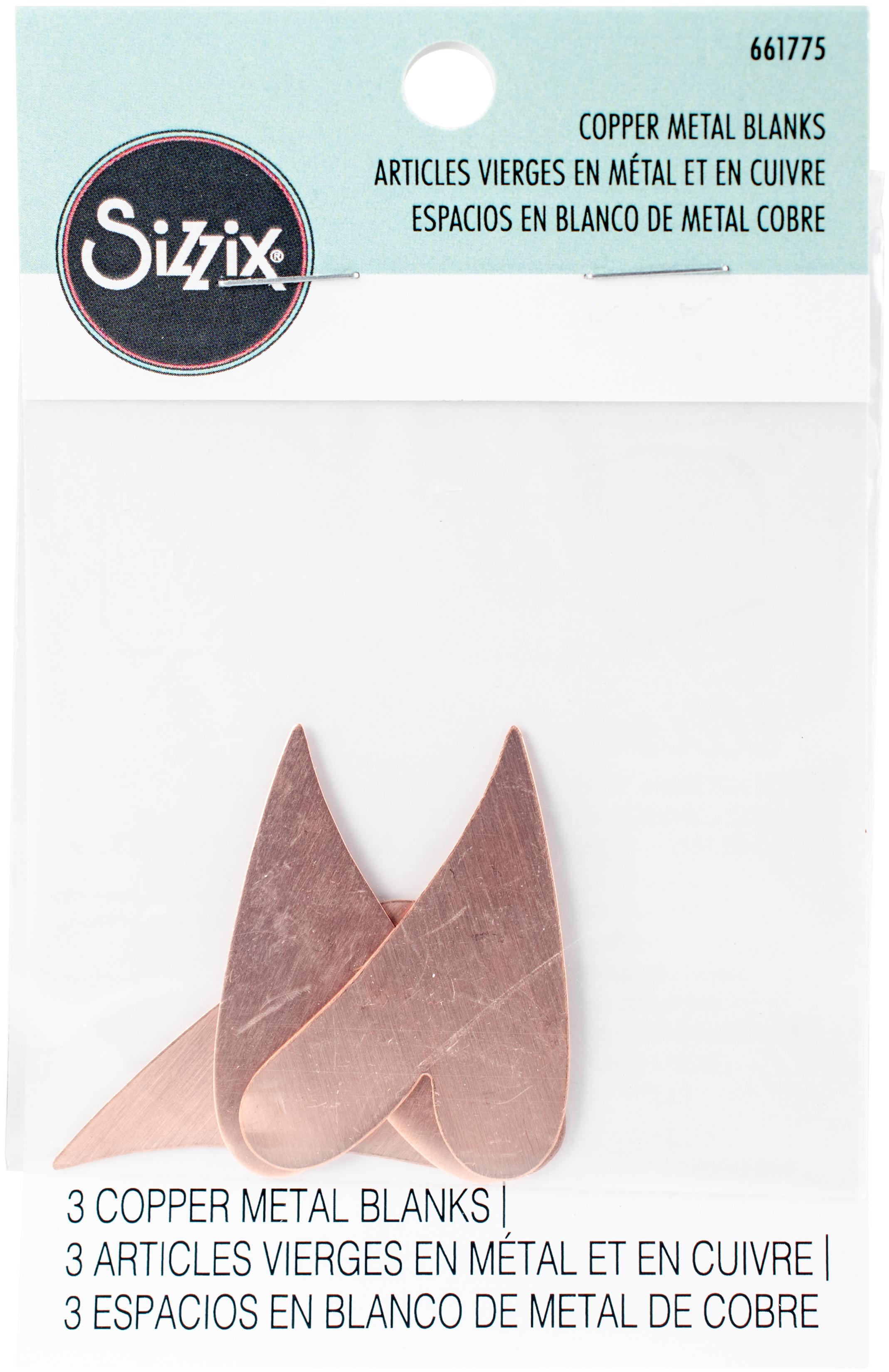 Sizzix Copper Metal Blanks 3/Pkg-Swirly Heart 1-7/8