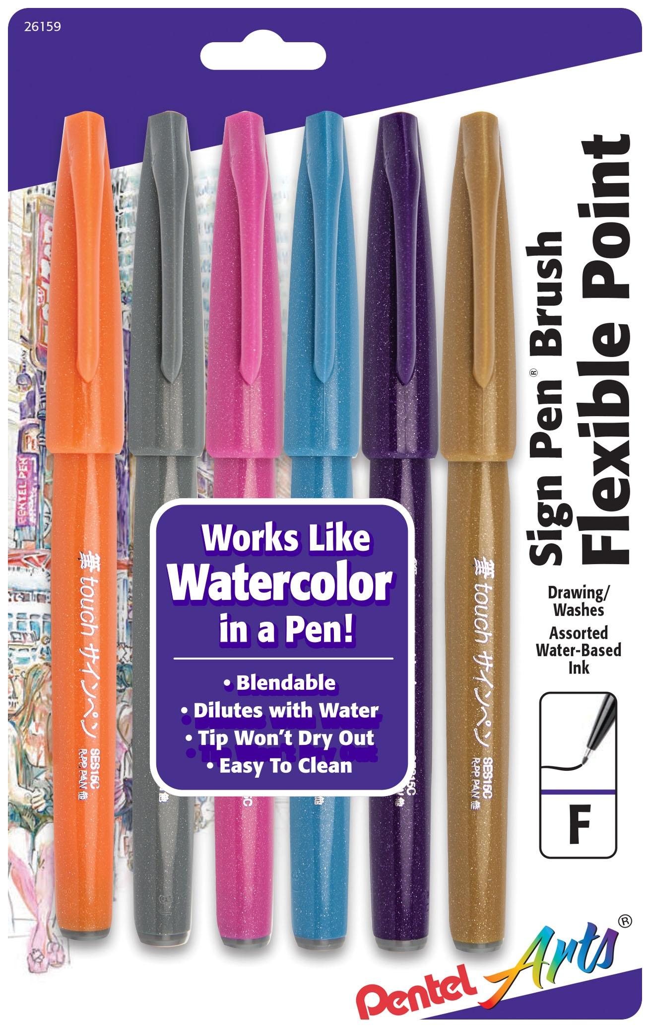Sign Pen Brush Sets, 6-Color Set - Fashion