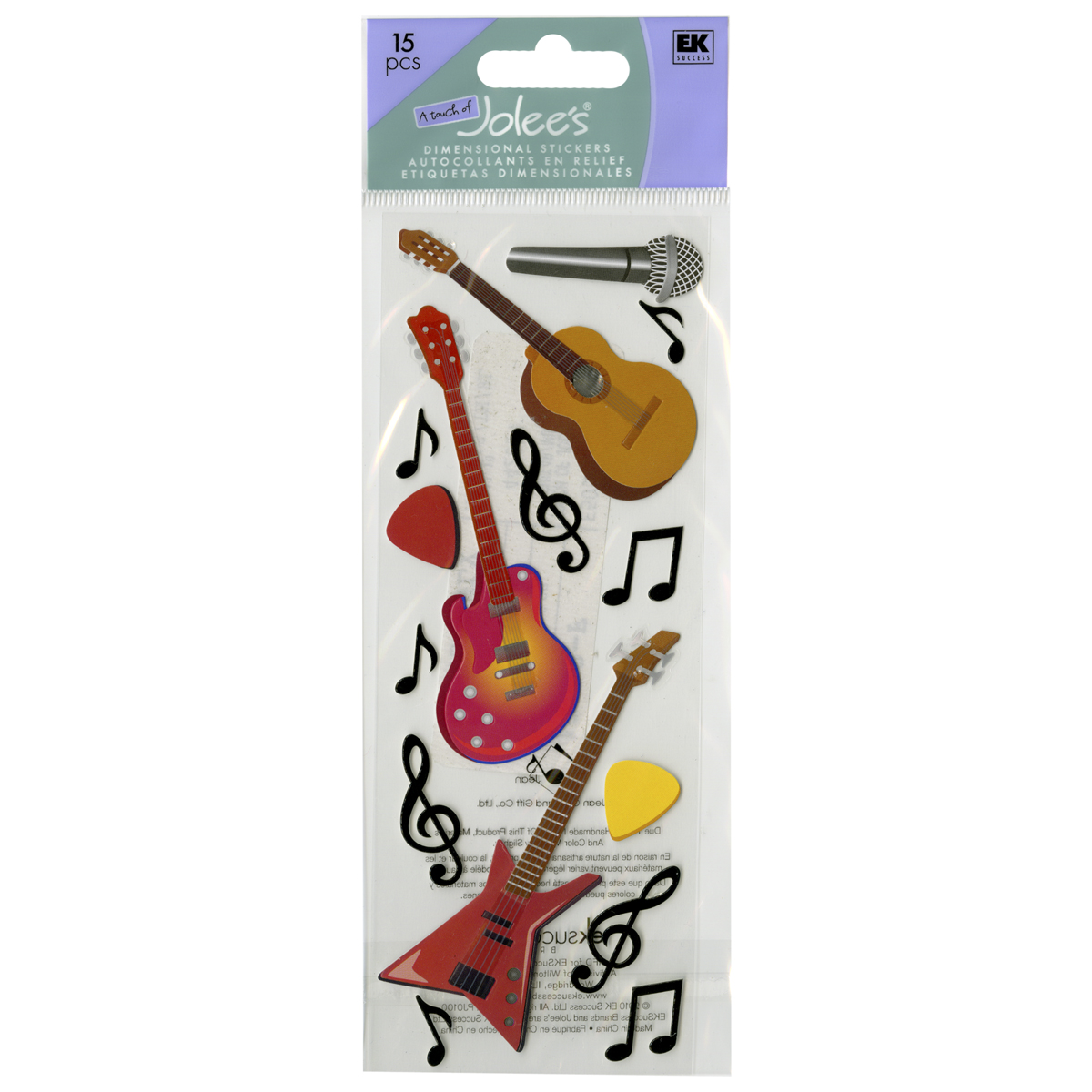 Touch Of Jolee's Dimensional Stickers-Guitars & Music Notes