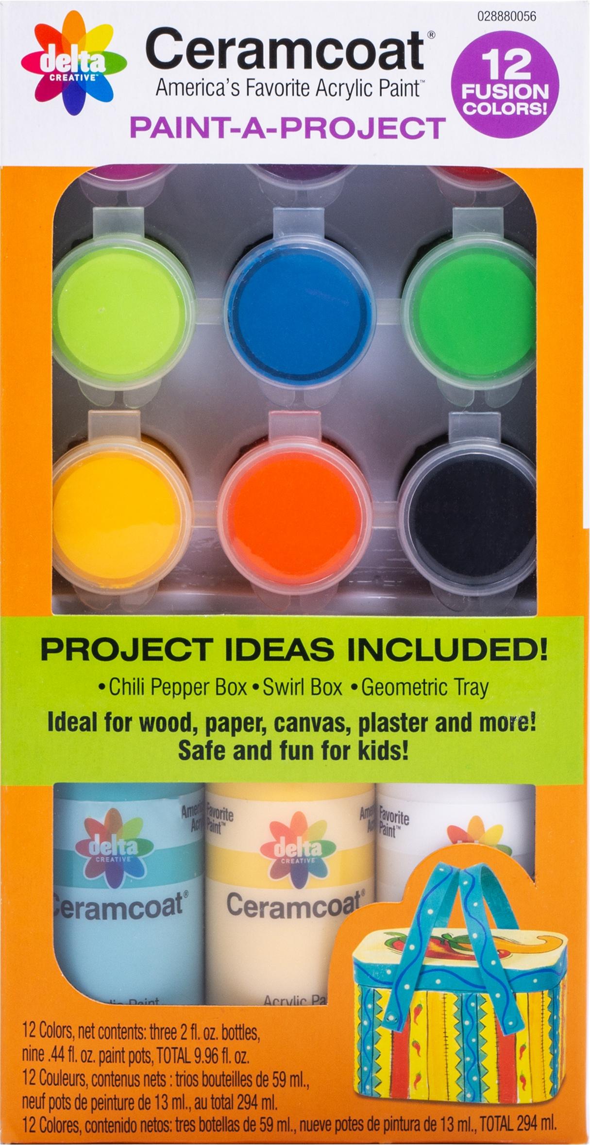 Ceramcoat Paint-A-Project Paint Set 12/Pkg-Fusion
