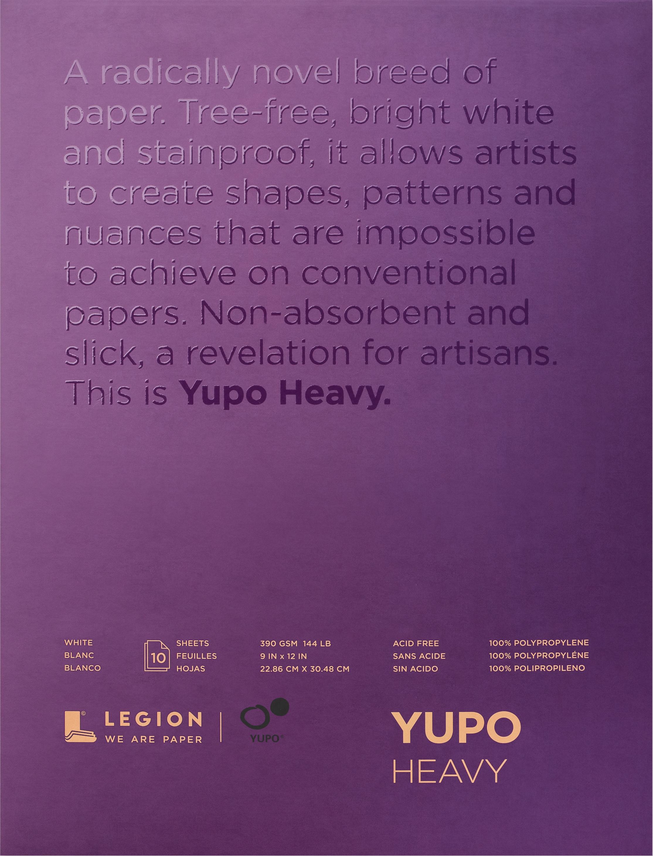 Yupo Heavy Pads 9X12 10 Sheets/Pkg-White 144lb
