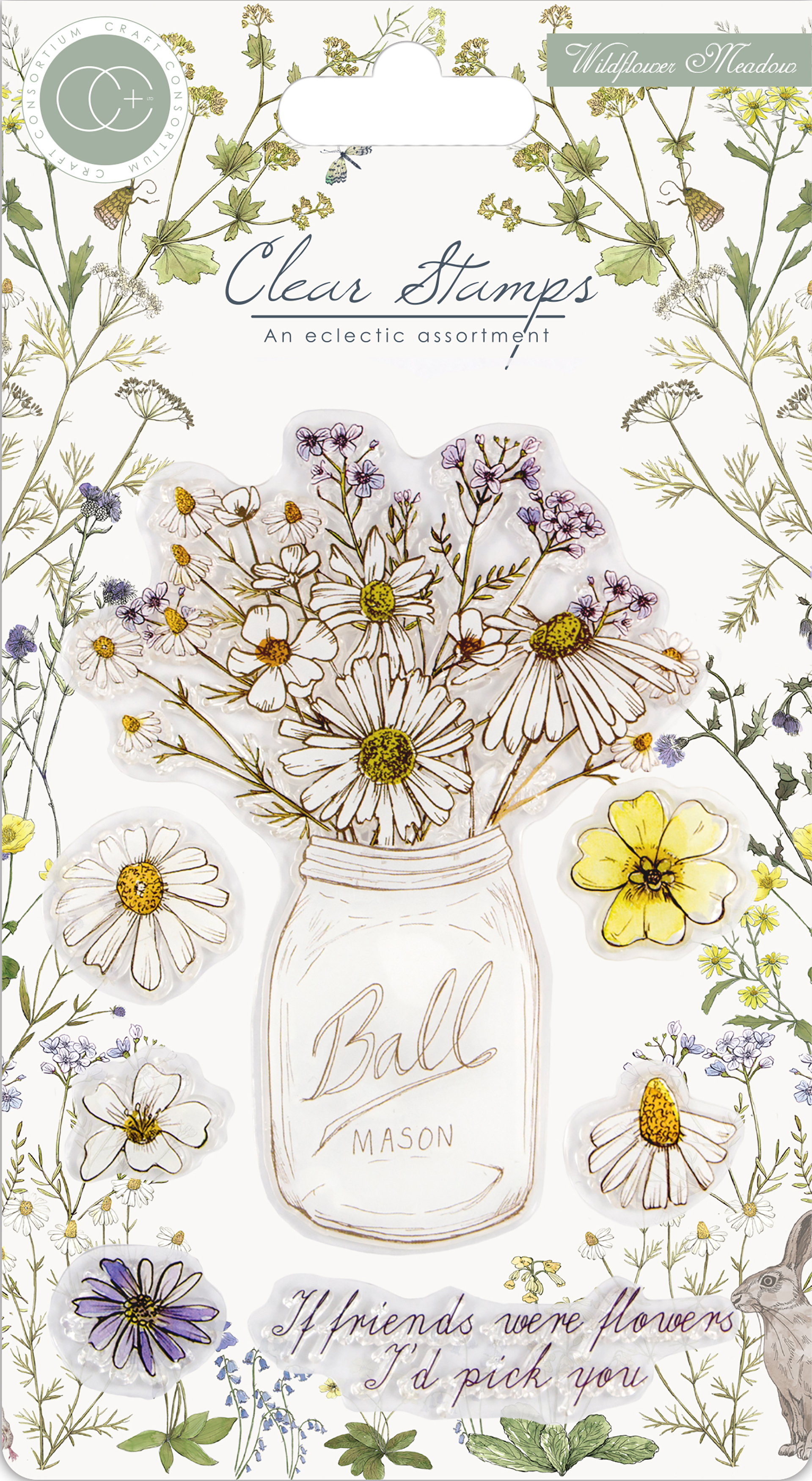 Craft Consortium A5 Clear Stamps-Wildflower Meadow, Fresh Cut