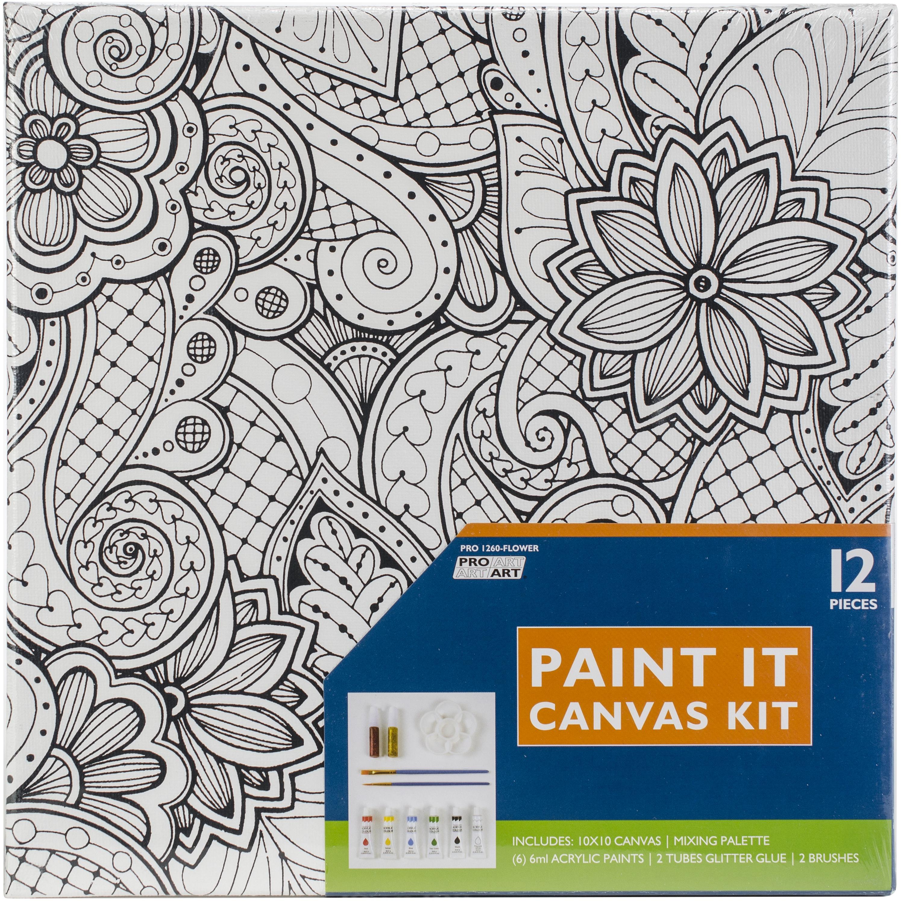 Pro Art Paint-It Canvas Kit 10X10-Flower