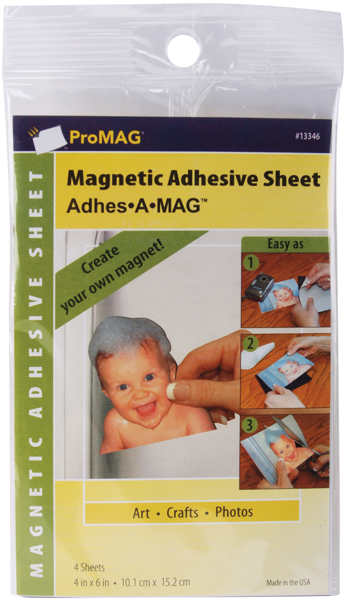 ProMag Adhesive Magnetic Sheets-4X6 4/Pkg