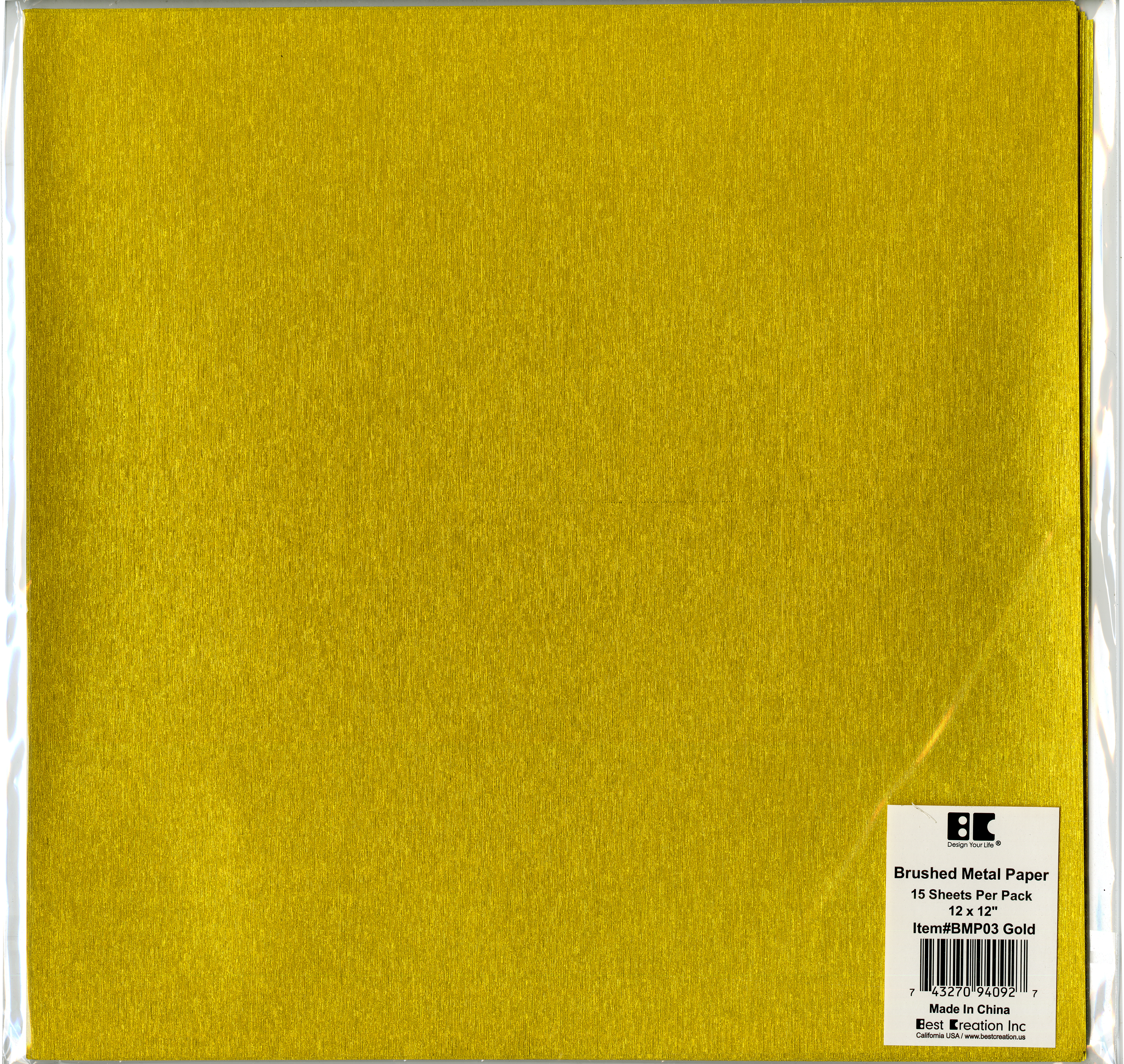 Brushed Metal Paper - Gold, 12x12 (Best Creation)