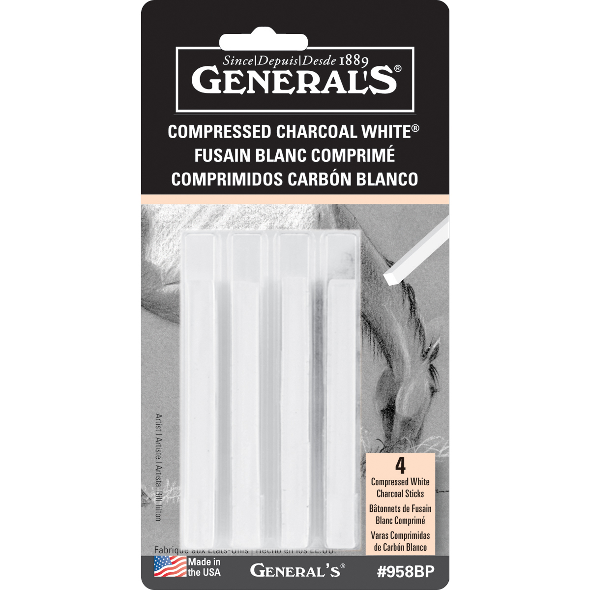 General's Compressed Charcoal White  4 Sticks