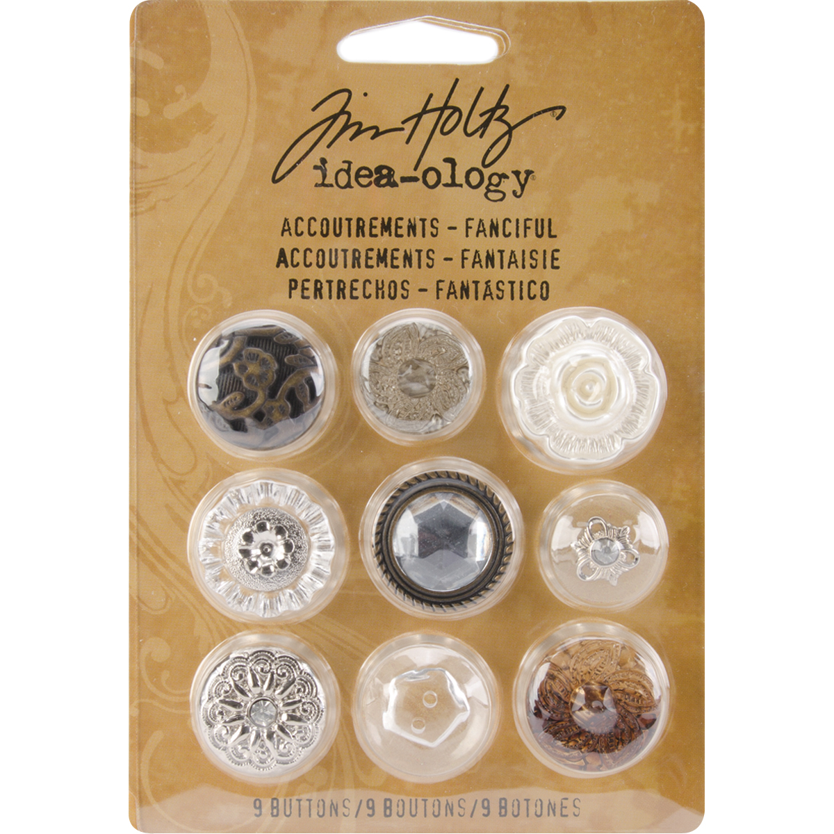 Idea-Ology Accoutrements Buttons 9/Pkg-Fanciful .626 To 1