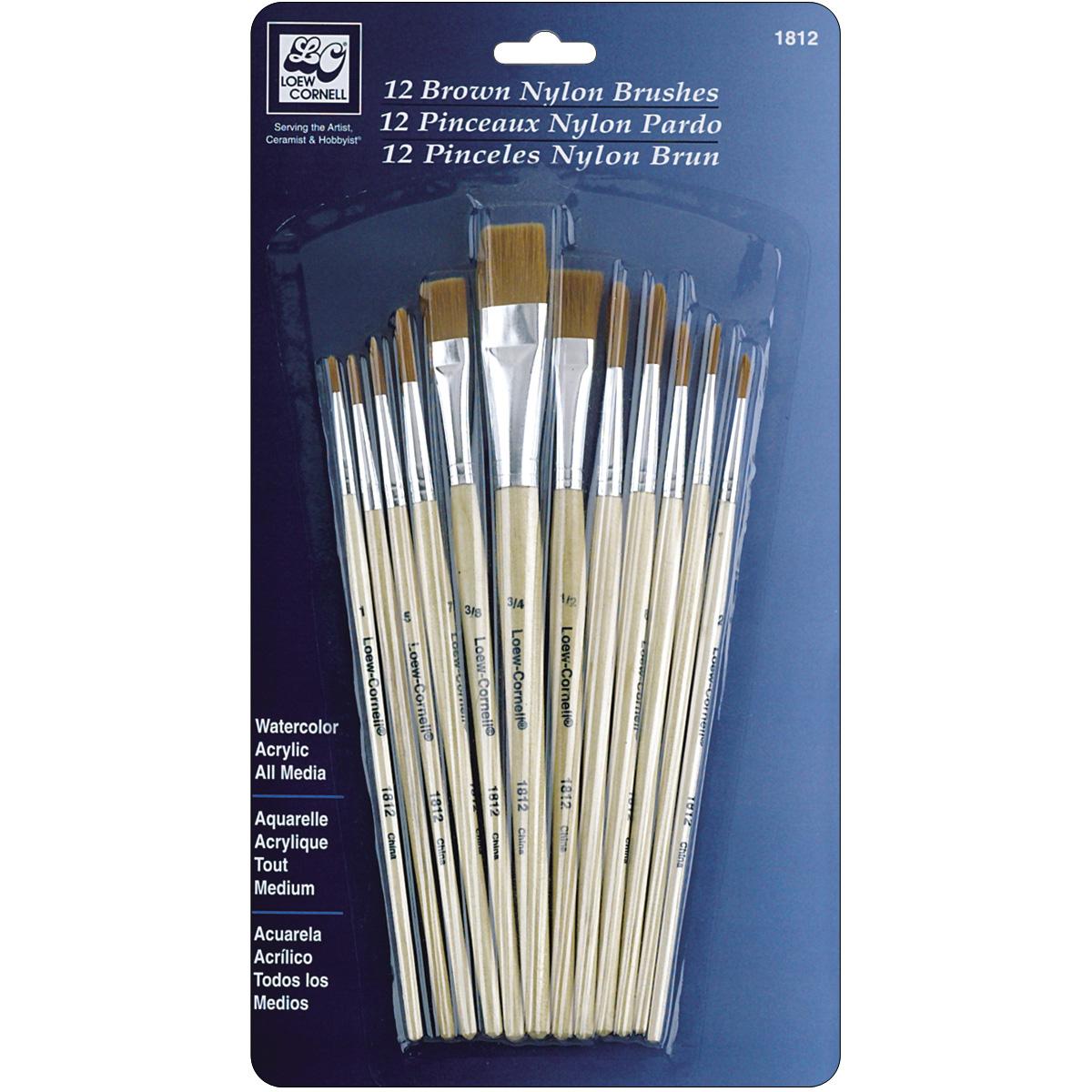 Brown Nylon Brush Set-12/Pkg