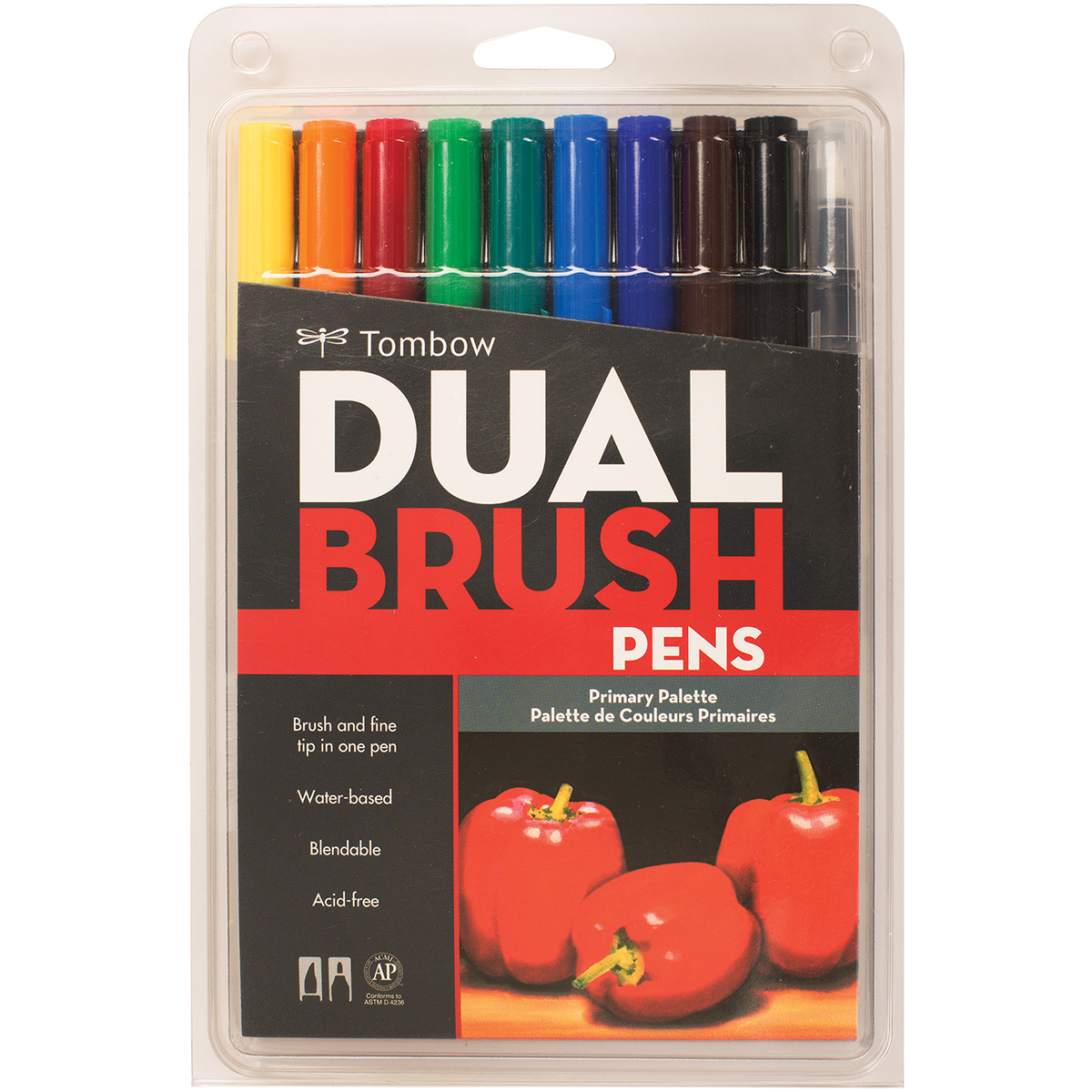 Tombow Dual Brush Markers 10/Pkg-Primary