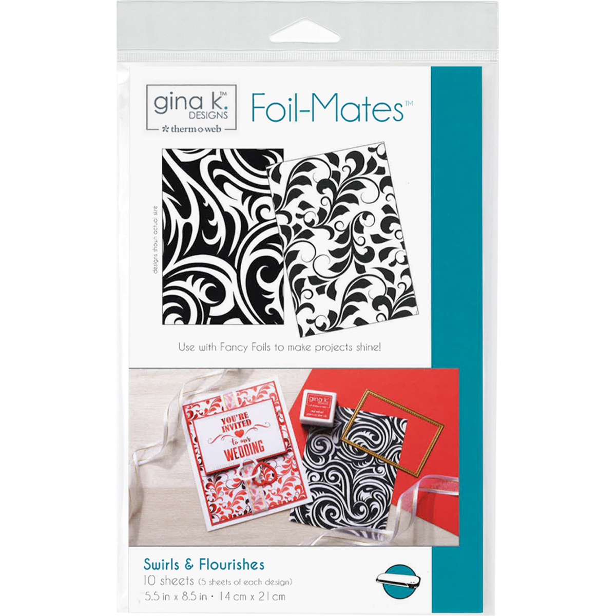 Gina K Designs Foil-Mates Background 5.5X8.5 10/Pkg-Swirls & Flourishes