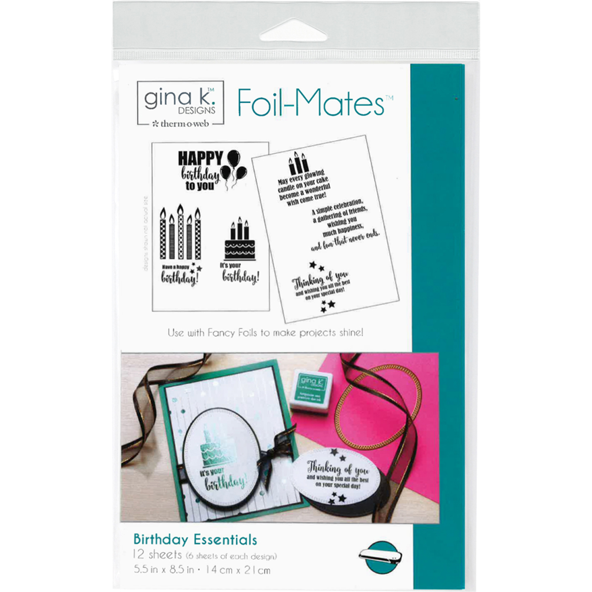 Gina K Designs Foil-Mates Sentiments 5.5X8.5 12/Pkg-Birthday Essentials