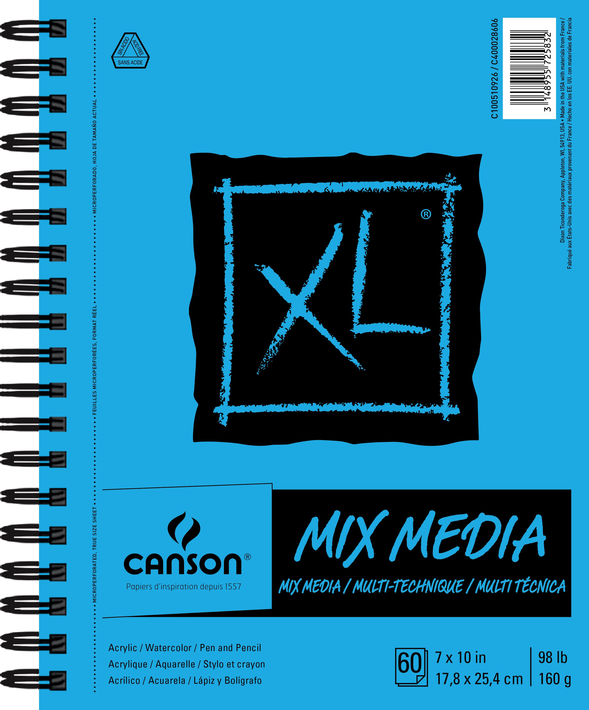 Canson XL Spiral Multi-Media Paper Pad 7X10-60 Sheets