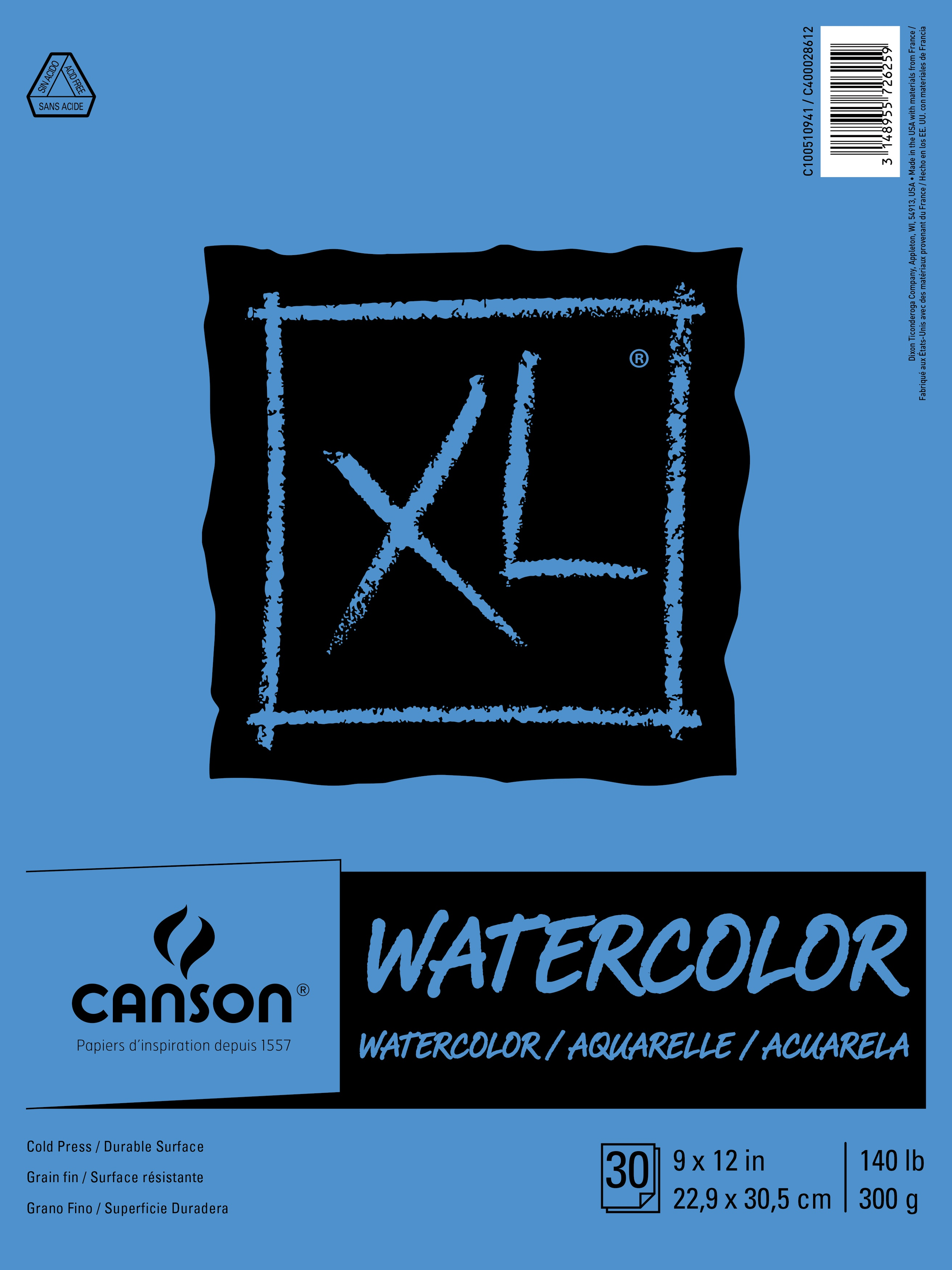 Canson XL Watercolor Paper Pad 9X12-30 Sheets