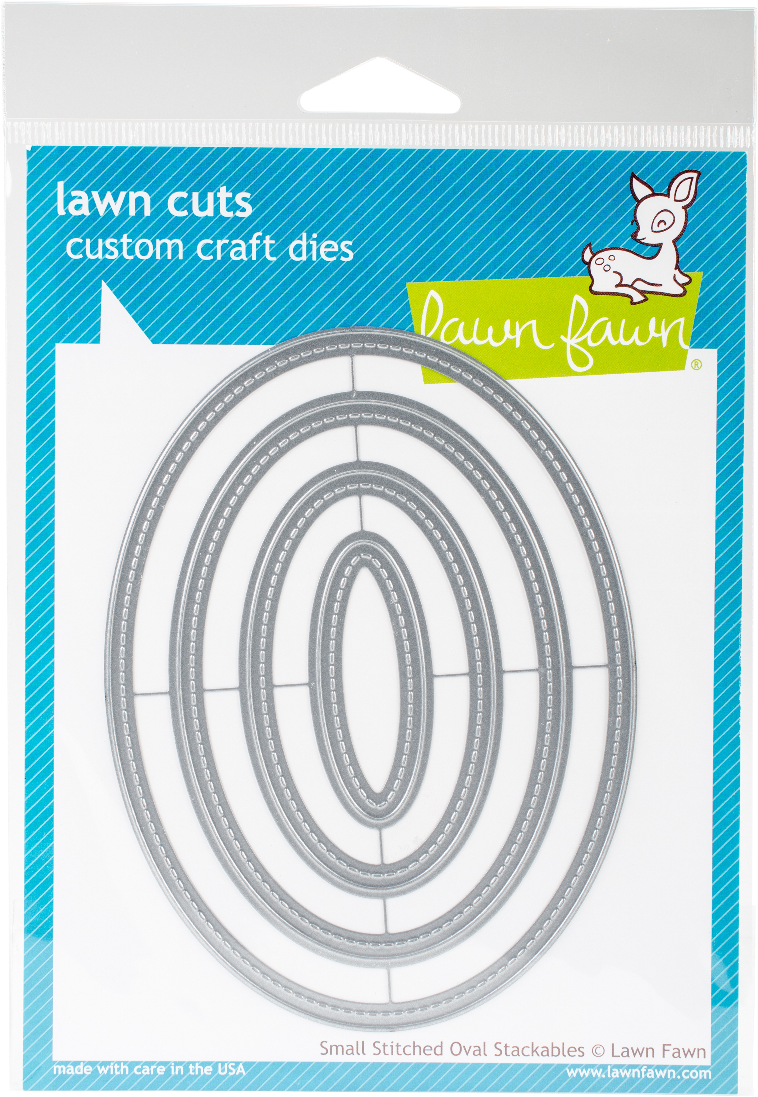 Lawn Cuts Custom Craft Stackables Dies-Small Stitched Ovals, .75 To 5
