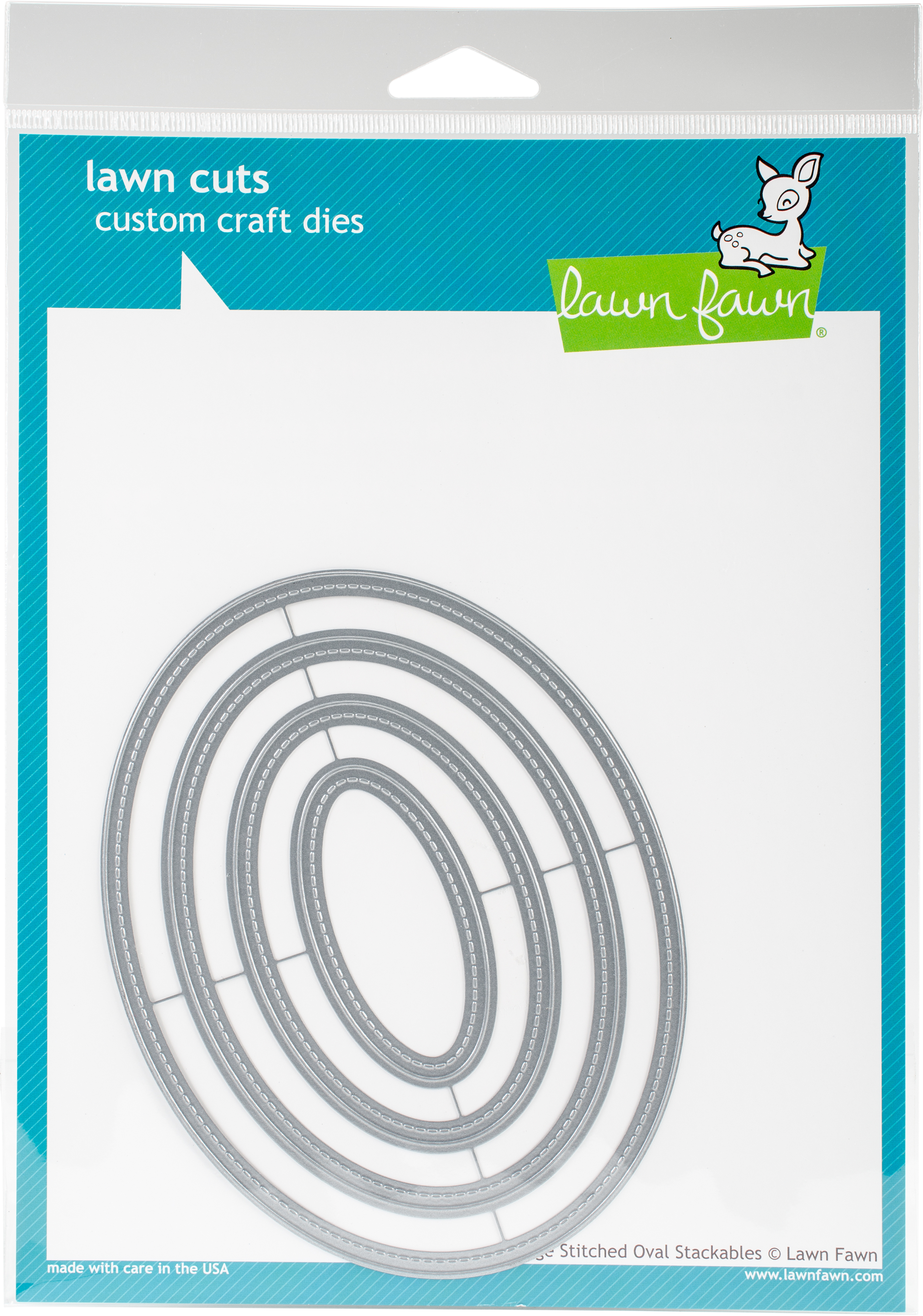 Lawn Cuts Custom Craft Stackables Dies-Large Stitched Ovals, 1.25 To 5.5