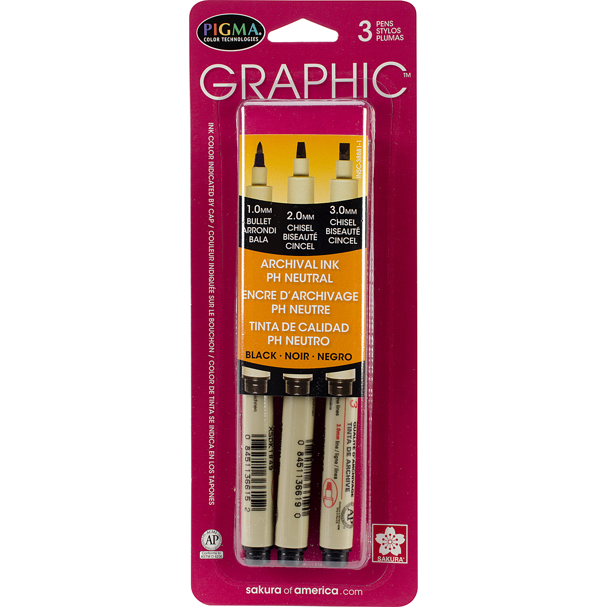 Sakura Pigma Graphic Pens, set of 3