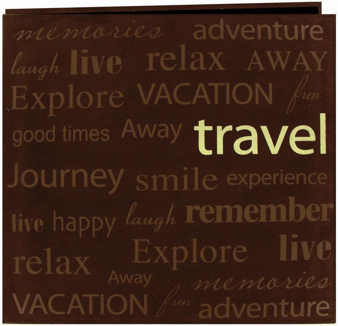 Text Faux Suede Scrapbook Travel