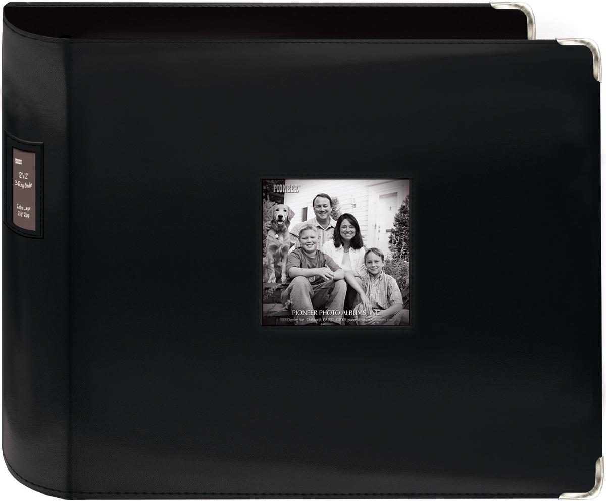 Pioneer 3-Ring Sewn Leatherette Album 12X12-Black